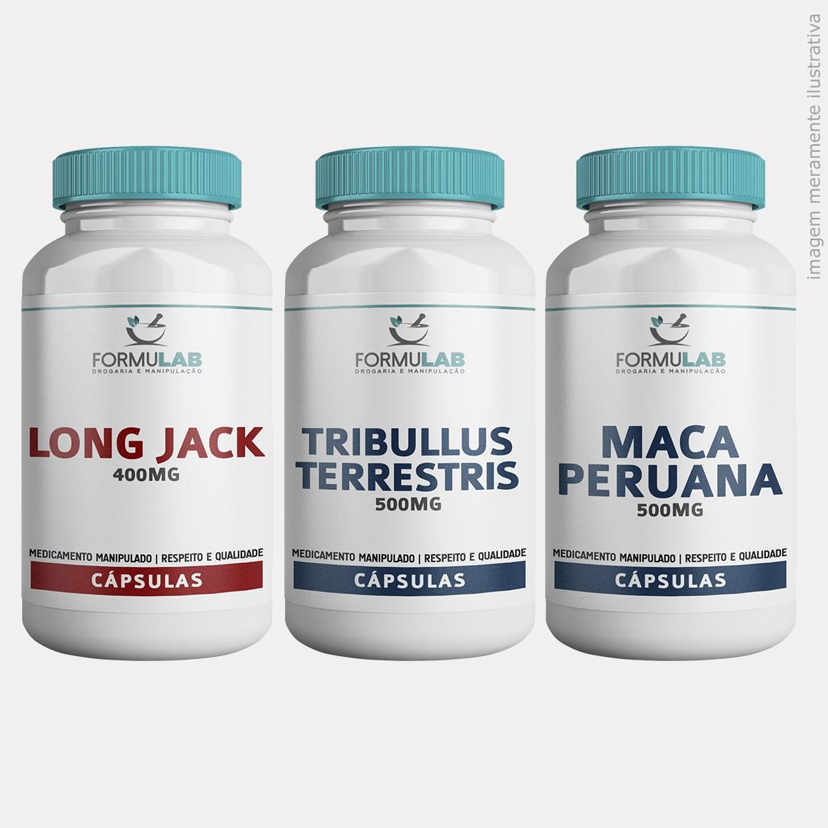 Kit DESEMPENHO FÍSICO - Long Jack 400mg + Tribullus Terrestris 500mg + Maca peruana 500mg