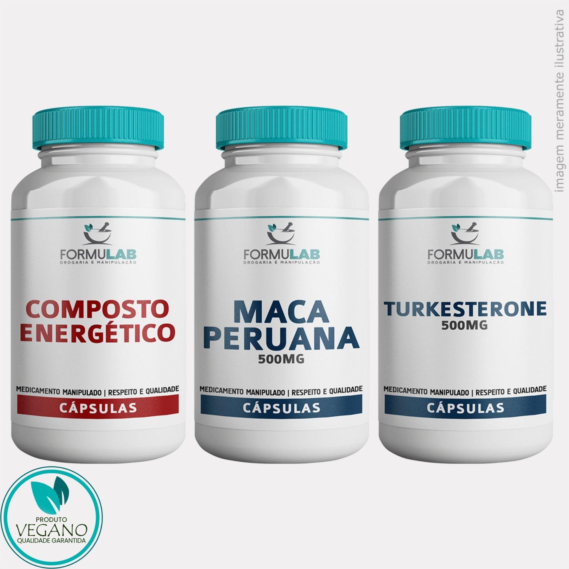 Kit DESEMPENHO FÍSICO VEGAN - Composto Enérgico +  Maca Peruana 500mg + Turkesterone 500mg