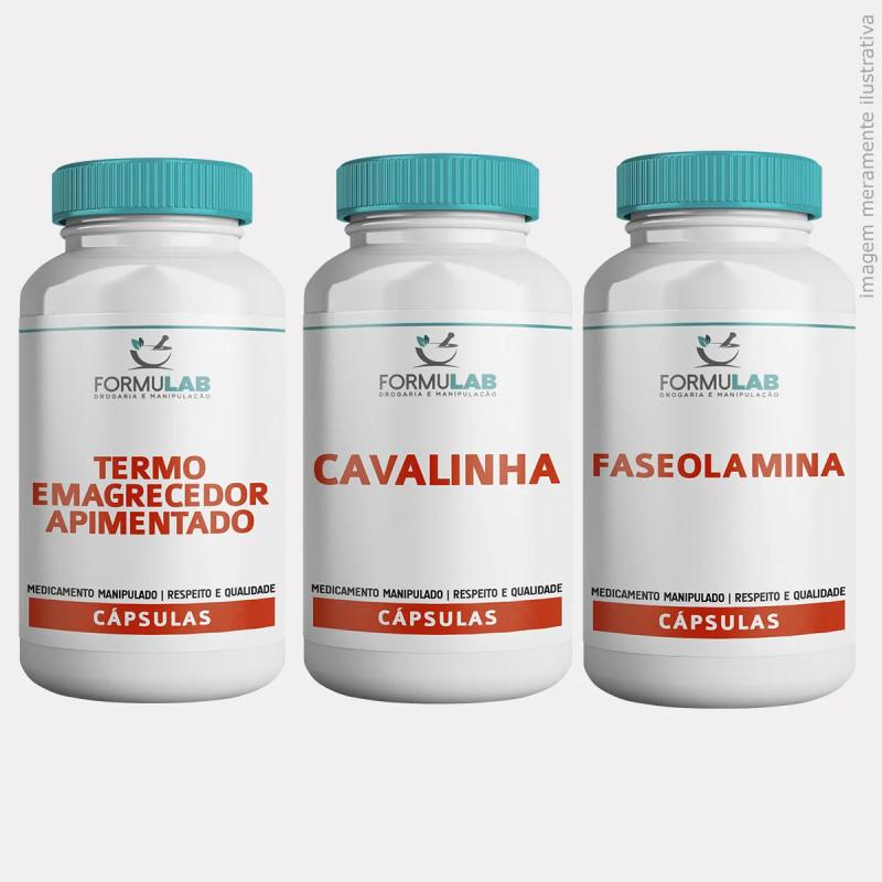 Kit EMAGRECIMENTO - Termogênico Apimentado + Cavalinha 500mg + Faseolamina 500mg