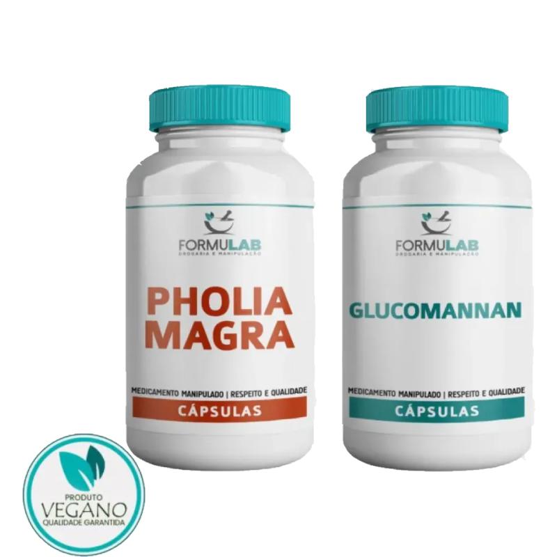 Kit EMAGRECIMENTO VEGAN - Pholia Negra 500mg 60 Cápsulas + Glucomannan 500mg 60 Cápsulas