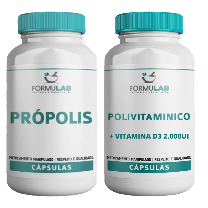 Kit Imunidade: POLIVITAMÍNICO QUELATO 30 Cápsulas + PRÓPOLIS 500mg 60 Cápsulas