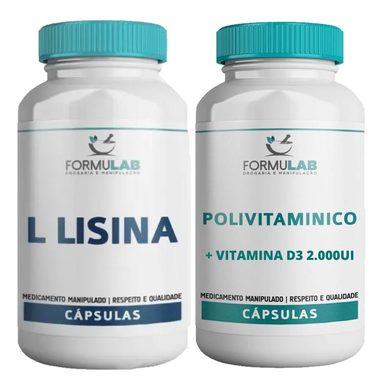 Kit Saúde: L Lisina 500mg 120 Cápsulas + Polivitamínico Quelato 30 Cápsulas
