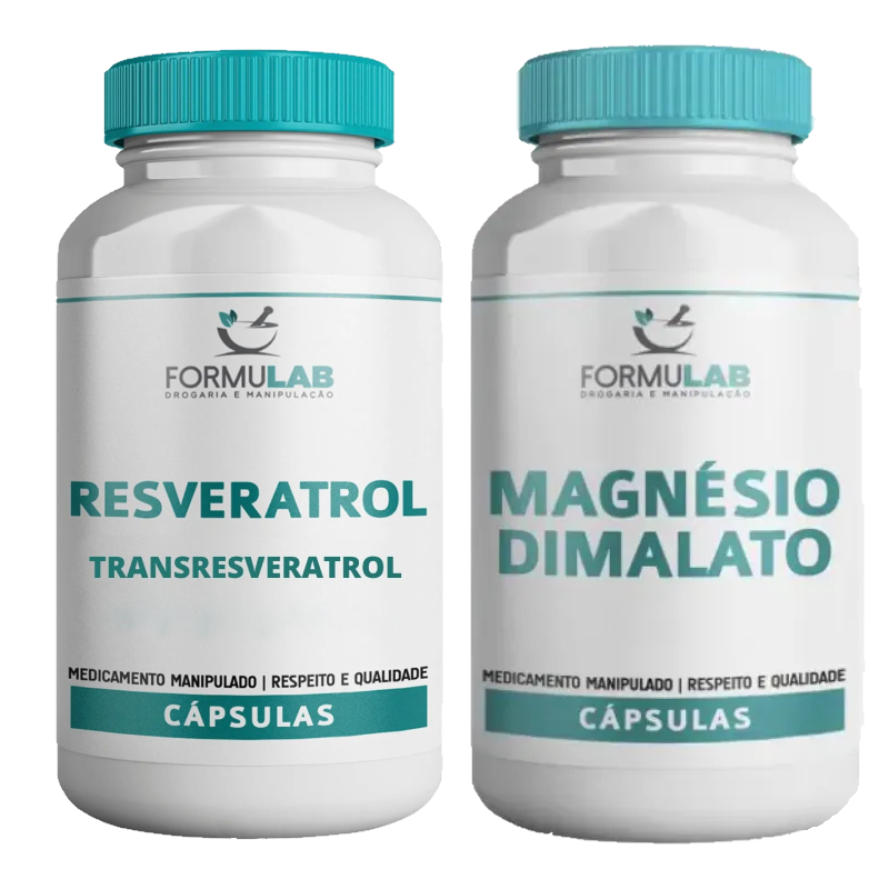 KIT: Magnésio Dimalato 500mg 60 Cápsulas + Transresveratrol 100mg 60 Cápsulas