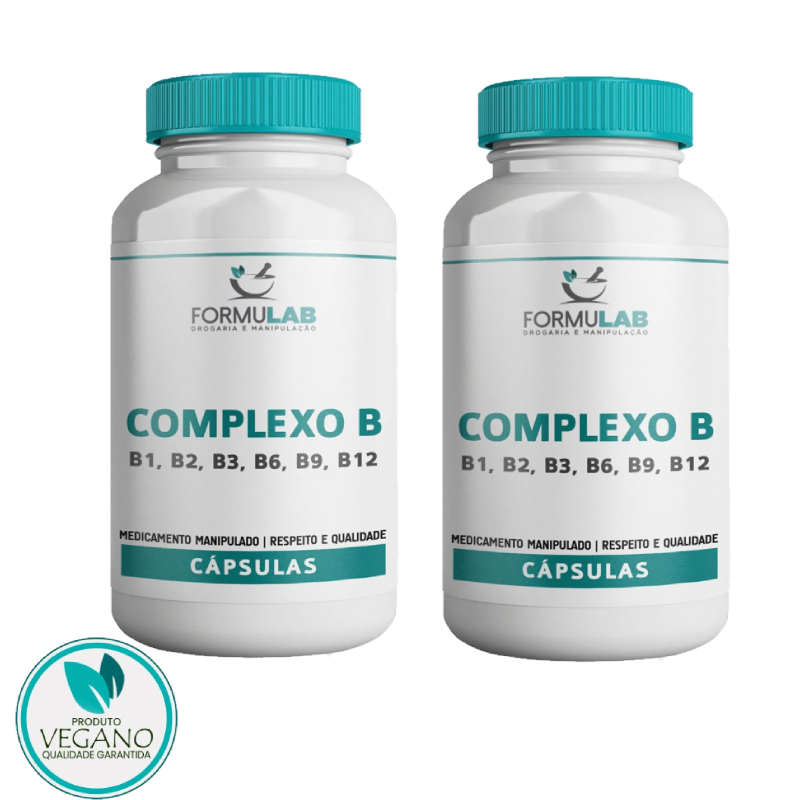 Kit VEGAN: COMPLEXO B VEGANO 120 Cápsulas - 2 POTES - B1, B2, B3, B6, B9, B12