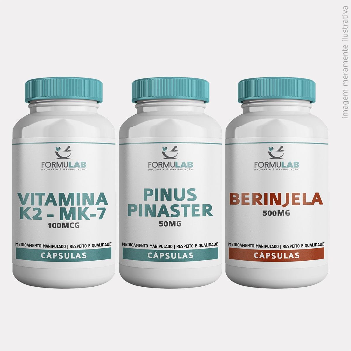 Kit SAÚDE - Vitamina k2 - mk7 - 100mcg + Pinus Pinaster 50mg + Berinjela 500mg