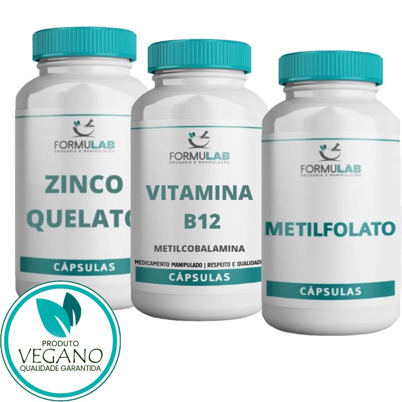 Kit Vegan - SUPLEMENTOS: Metilfolato 400mcg + Metilcobalamina 500mcg + Zinco Quelato 50mg
