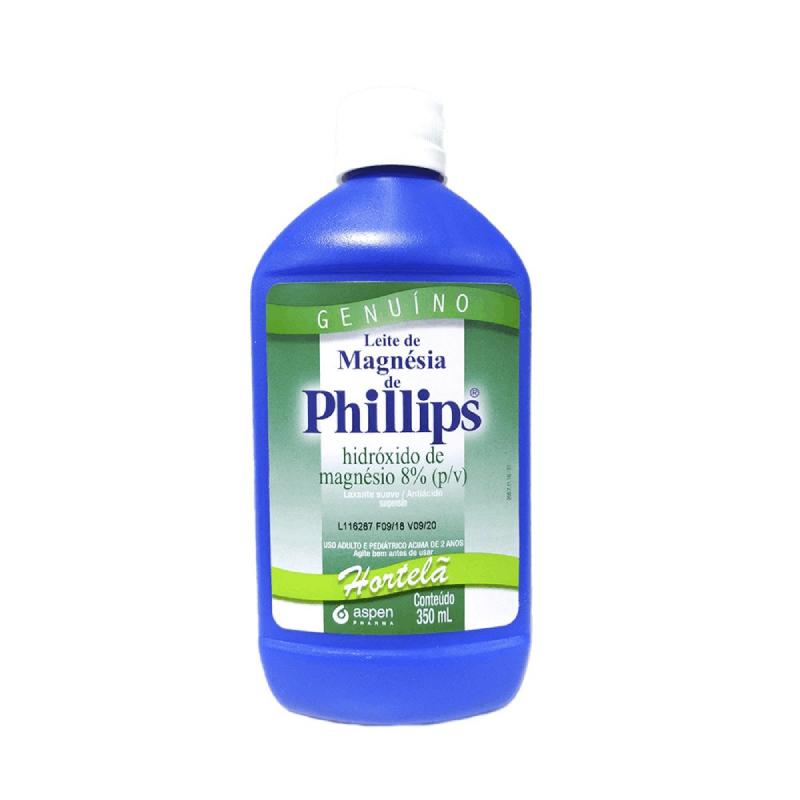 Leite de magnésia de philips sabor de hortelã- Hidróxido de magnésio 8% (p/v) 350ml