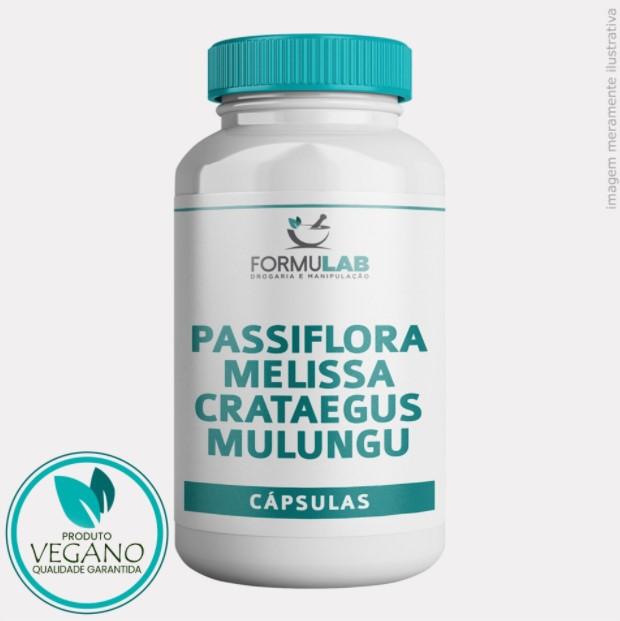 Passiflora 250mg + Melissa 100mg + Crataegus 50mg + Mulungu 50mg - VEGANO