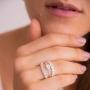 Anel Com Zircônia Branca Em Forma De Coração - Prata 925