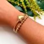 Bracelete Com Símbolo De Coração Liso Folheado Em Ouro