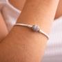 Bracelete De Berloque e Trava Coração e Zircônia - Prata 925