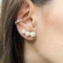 Brinco Ear Cuff Com Pérolas Folheado Em Ouro