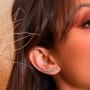 Brinco Ear Cuff Com Pontos de Luz Com Zircônias Brancas