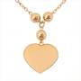 Colar Coração Liso Com Três Bolinhas Folheado Em Ouro