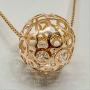 Colar Longo Com Círculo Vazado e Cristal Folheado Em Ouro
