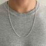 Corrente Masculina Com Elos De Cadeado 60 cm - Prata 925