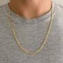Corrente Masculina Fígaro Flat 3x1 70 cm Folheado Em Ouro