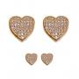 Kit De Dois Brincos De Coração Com Zircônia Folheado Em Ouro