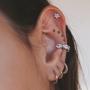 Piercing Estrela Com Zircônias Helix e Tragus - Prata 925