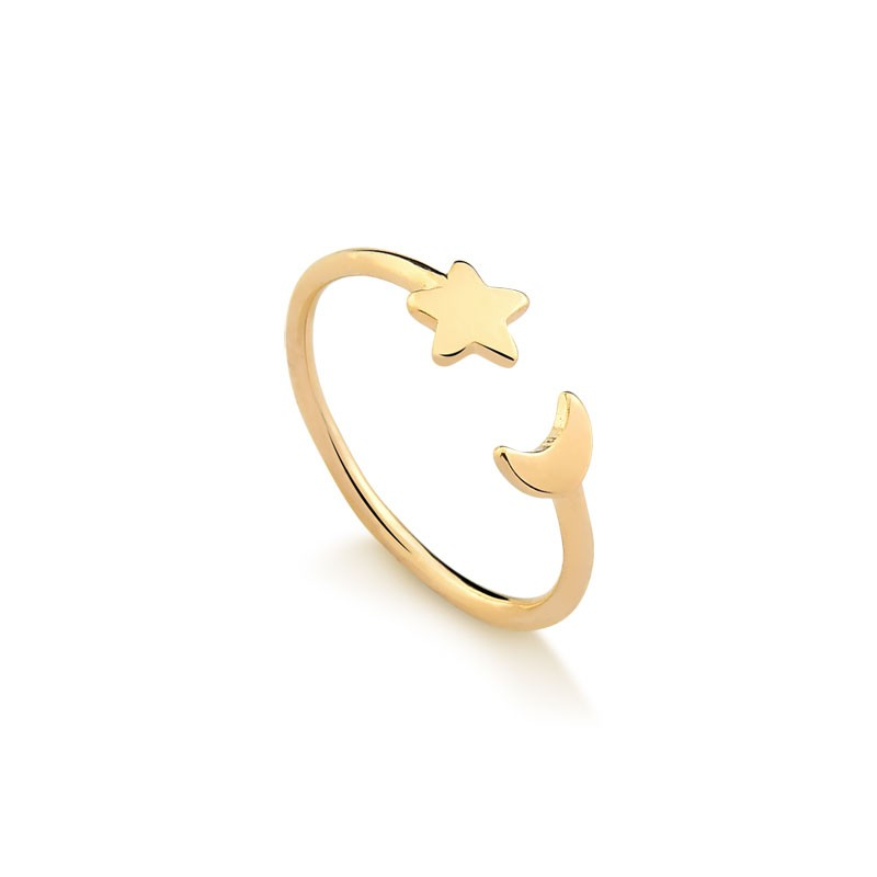 Anel Estrela e Lua Folheado Em Ouro