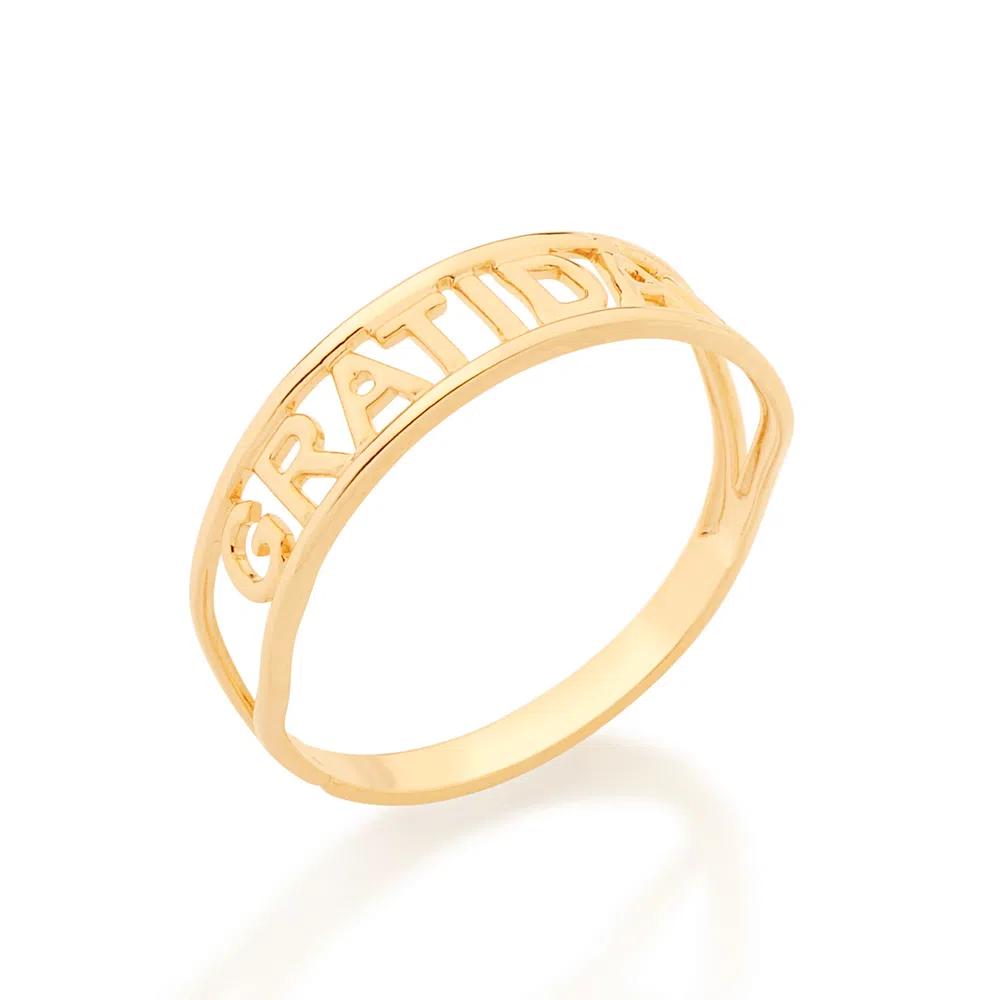 Anel Gratidão Skinny Ring Folheado Em Ouro - Rommanel
