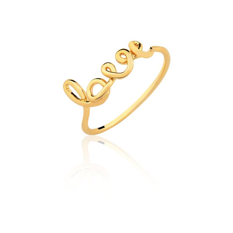 Anel Love Folheado Em Ouro