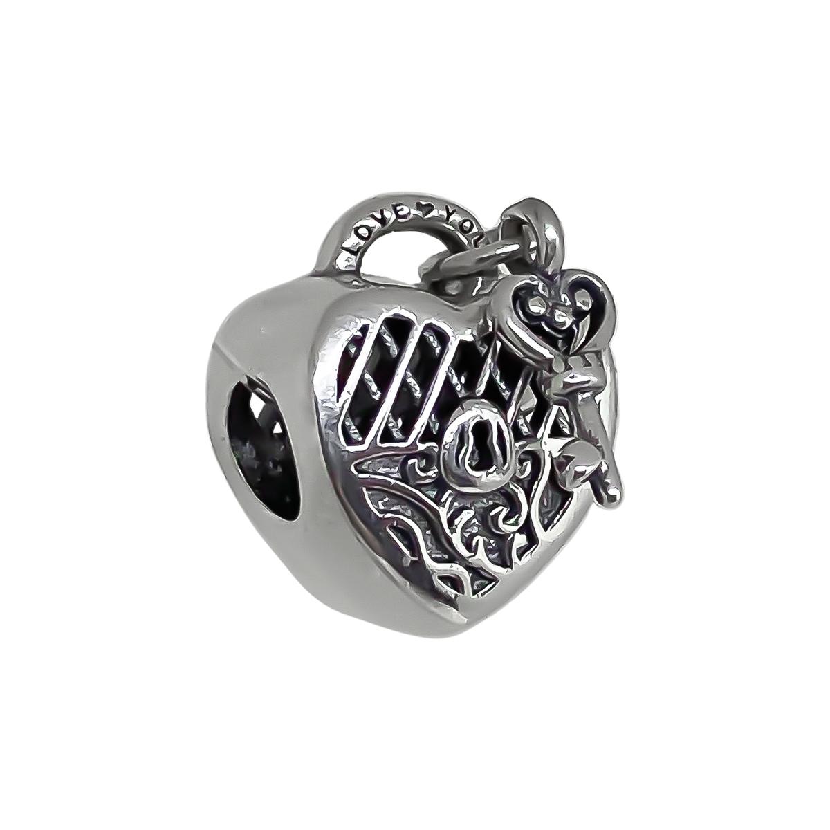 Berloque Cadeado De Coração e Com Pingente Chave - Prata 925