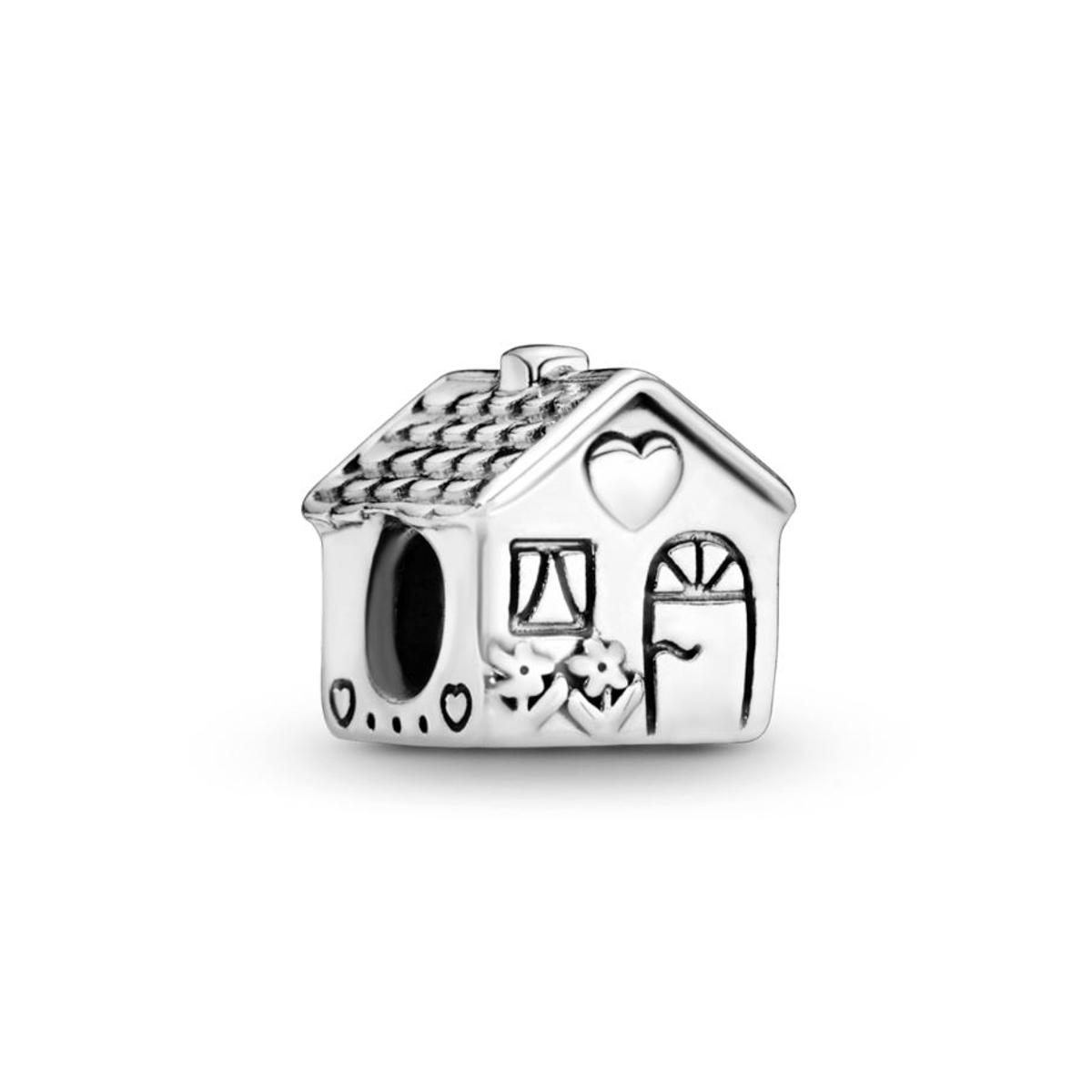 Berloque Casinha Com Gravações Delicadas - Prata 925