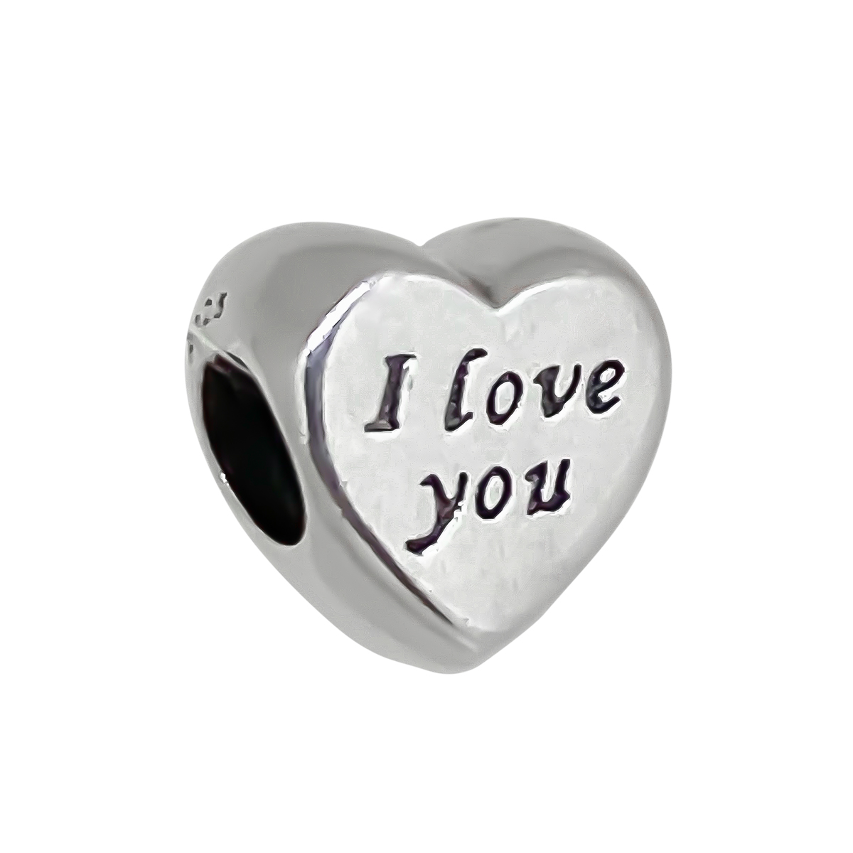 Berloque Coração Com Escrito Eu Te Amo Delicado - Prata 925