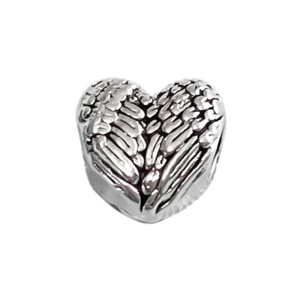 Berloque Coração Com Gravações E Detalhes De Asa - Prata 925