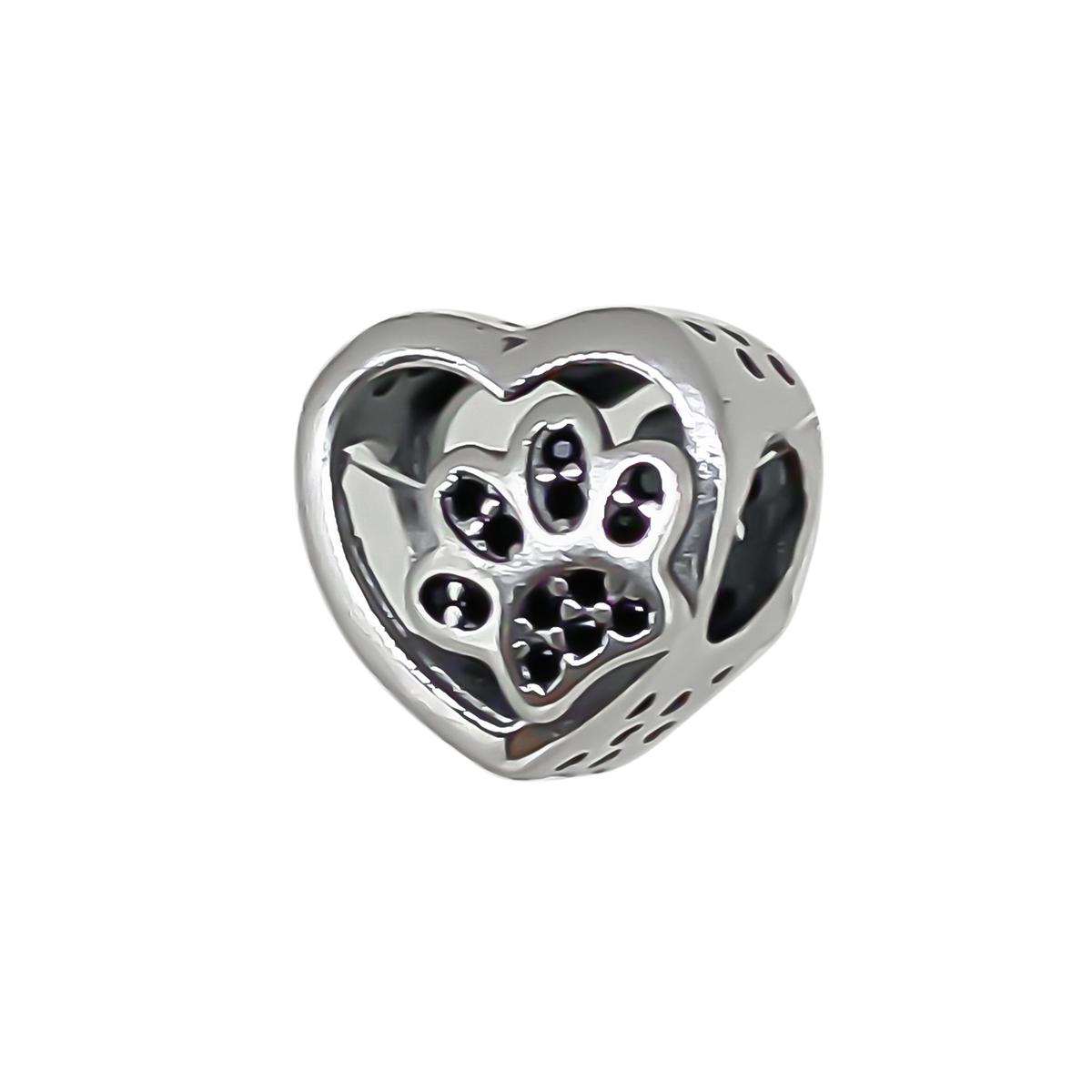 Berloque Coração Com Patinha De Pet Com Zircônia - Prata 925