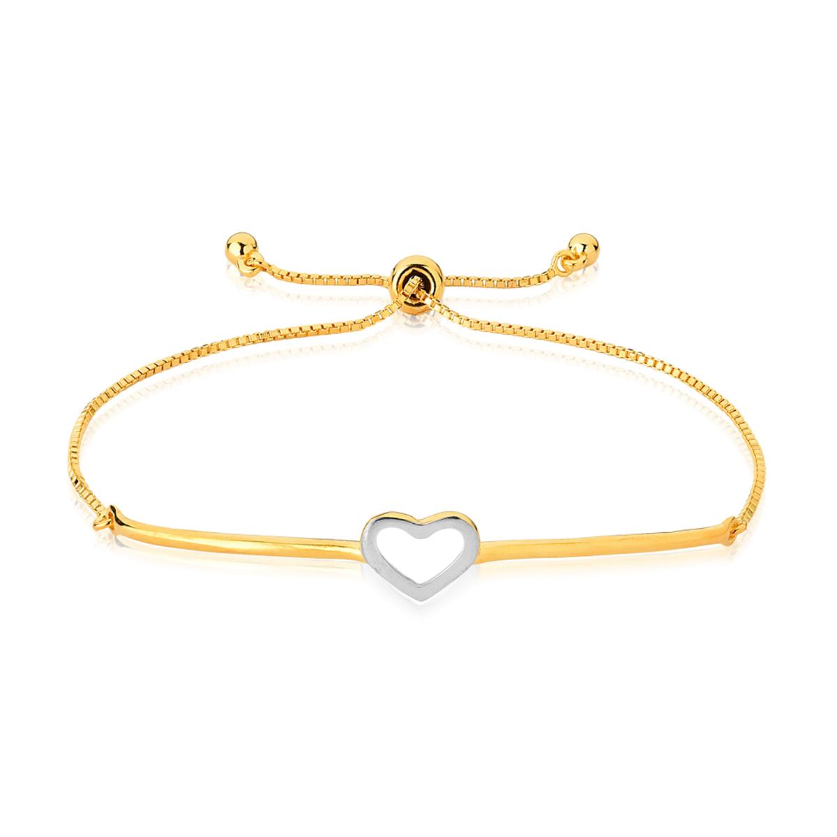 Bracelete Ajustável Com Coração Com Aplique de Ródio Branco