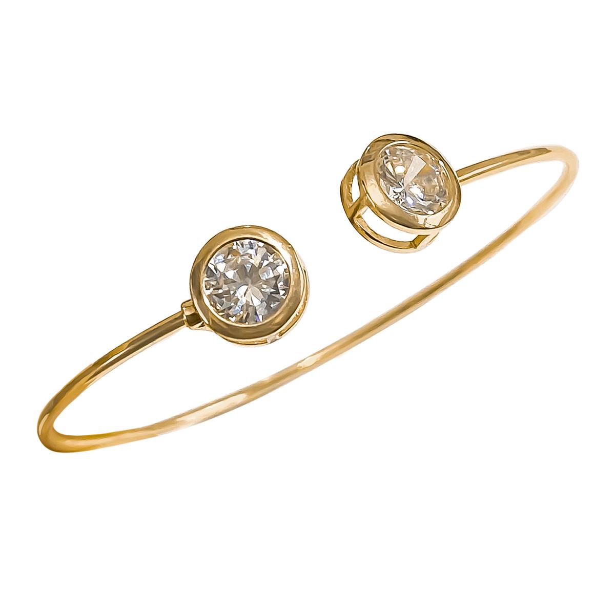 Bracelete Fino Com Duas Zircônias Brancas Folheado Em Ouro