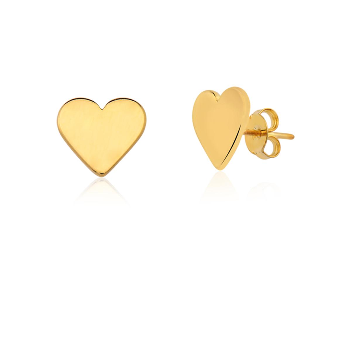 Brinco De Coração Folheado Em Ouro