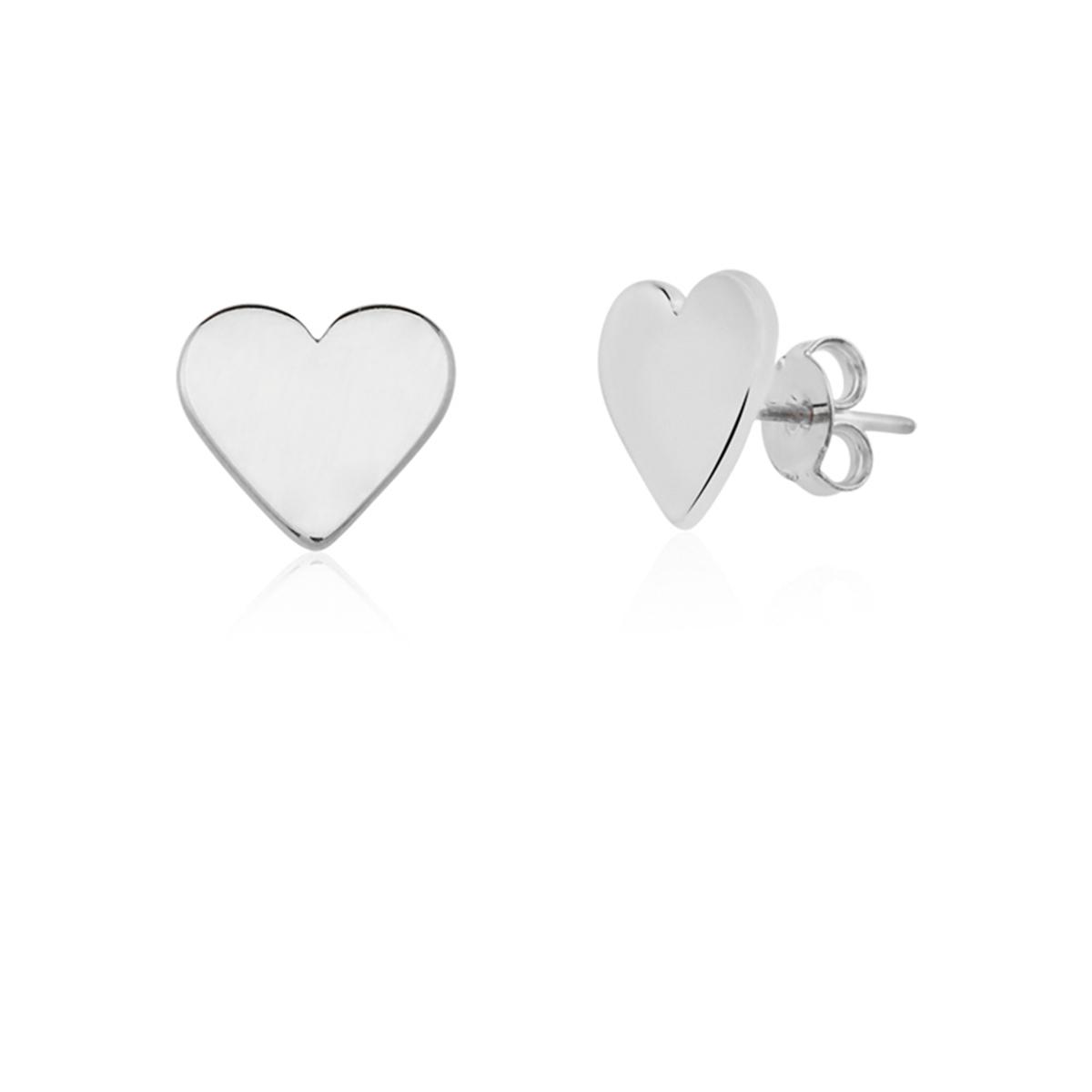 Brinco De Coração Folheado Em Ródio Branco