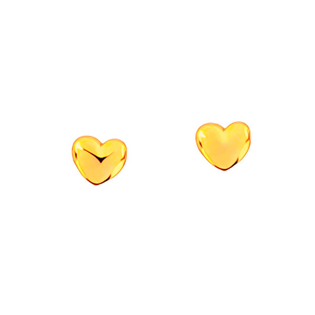 Brinco De Coração Liso Folheado Em Ouro