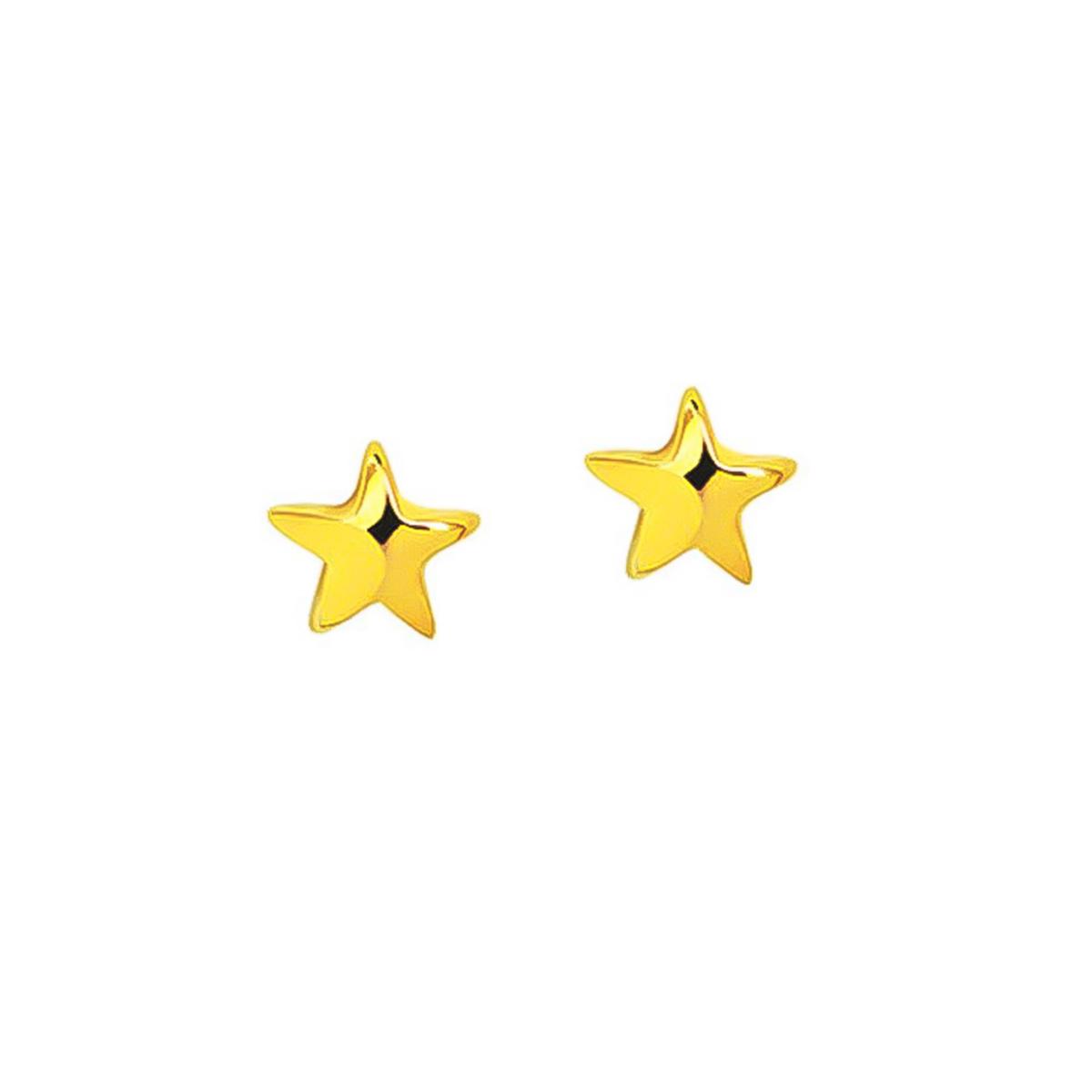 Brinco De Estrela Lisa Folheado Em Ouro