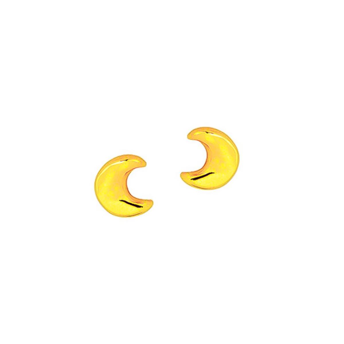 Brinco De Lua Lisa Folheado Em Ouro