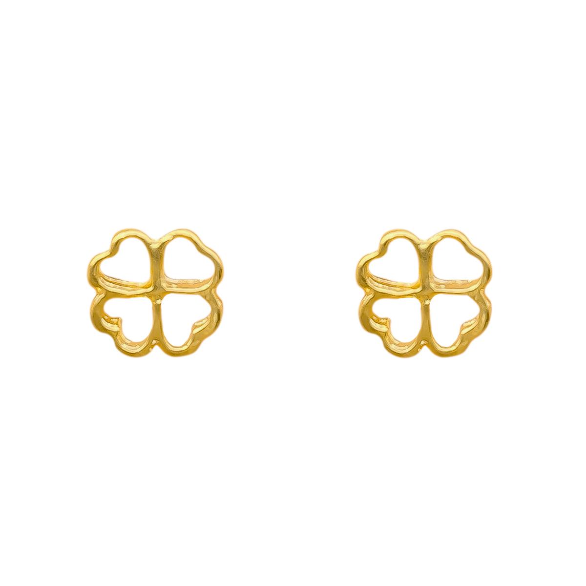 Brinco De Trevo De Quatro Folhas Vazado Folheado Em Ouro