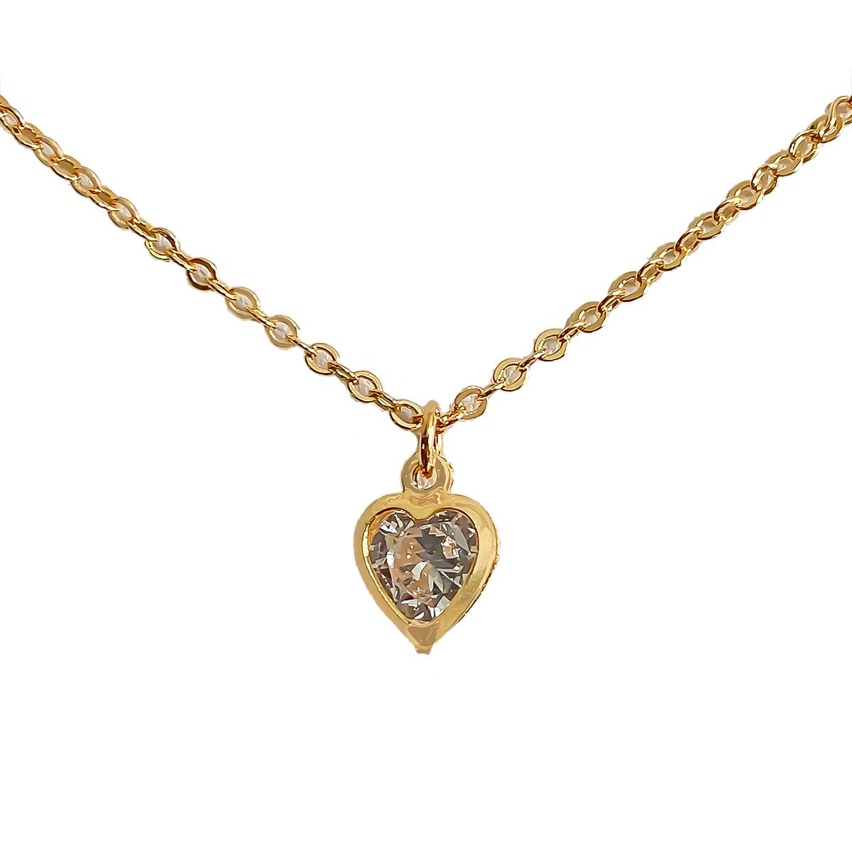 Colar Com Cristal Solitário De Coração Folheado Em Ouro