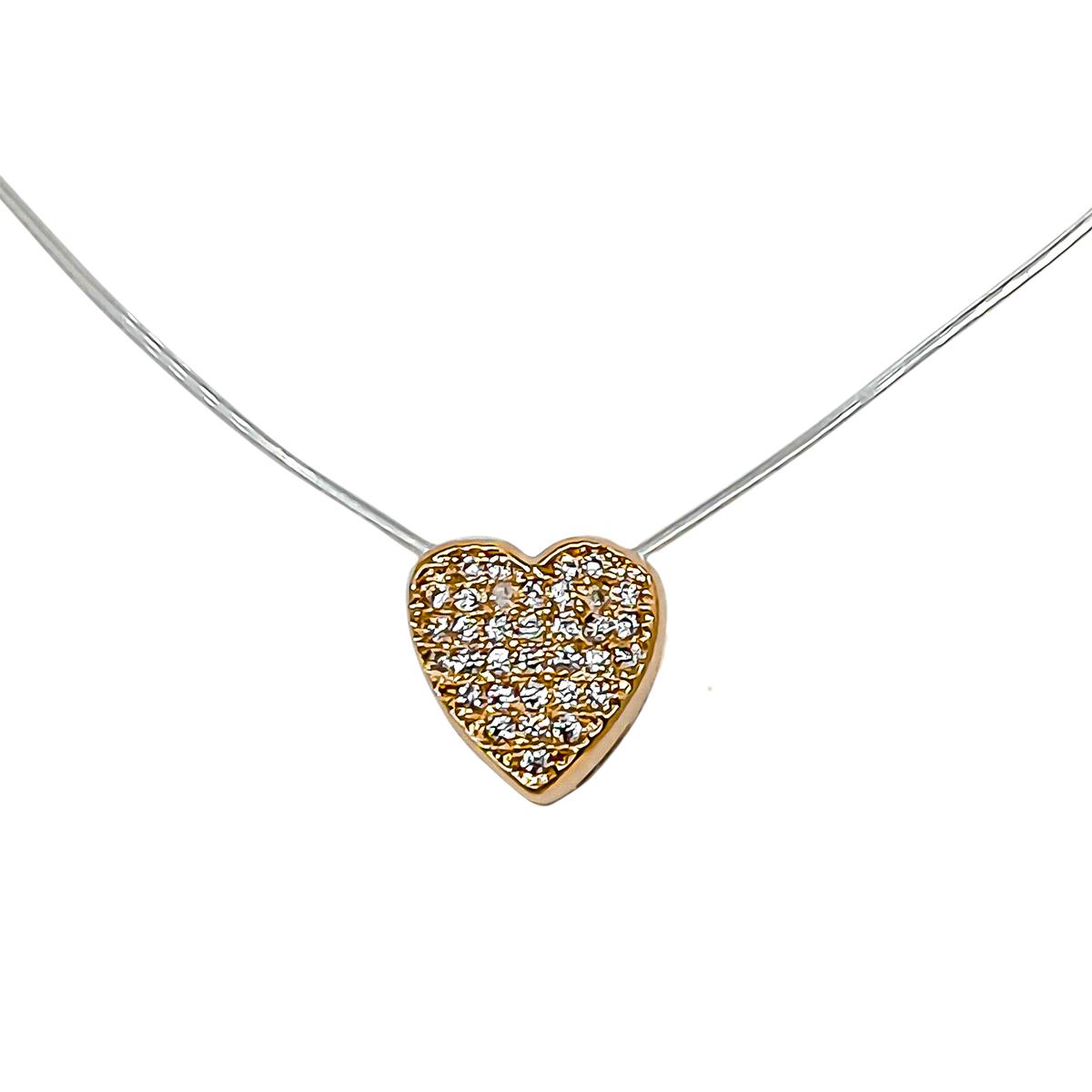 Colar Coração Com Zircônias De Nylon 37 cm Folheado Em Ouro