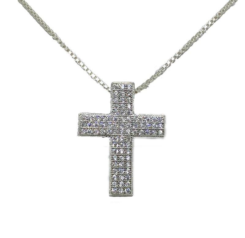 Colar Cruz Com Zircônias Brancas - Prata 925