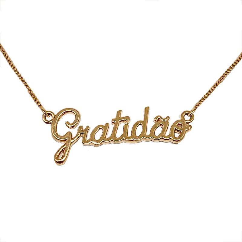 Colar Da Gratidão Folheado Em Ouro