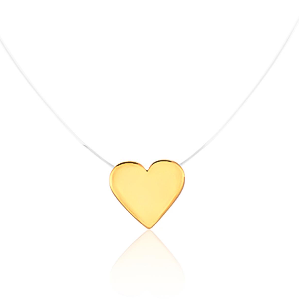 Colar De Coração De Nylon Folheado Em Ouro