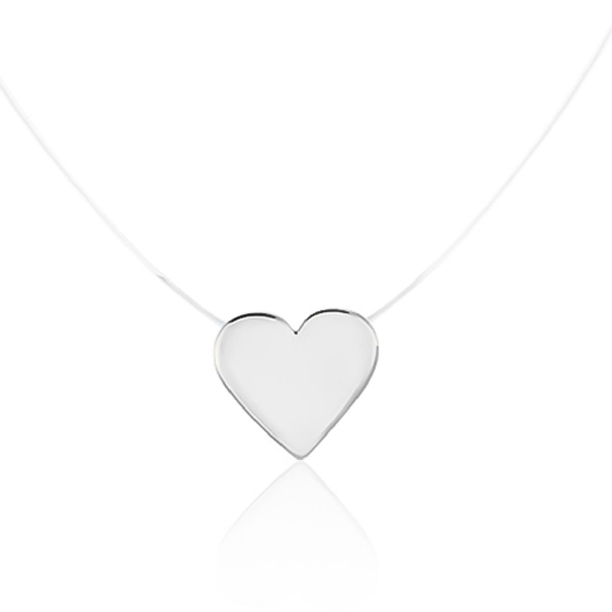 Colar De Coração De Nylon Folheado Em Ródio Branco