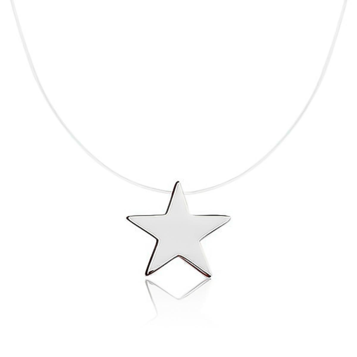 Colar De Estrela De Nylon Folheado Em Ródio Branco