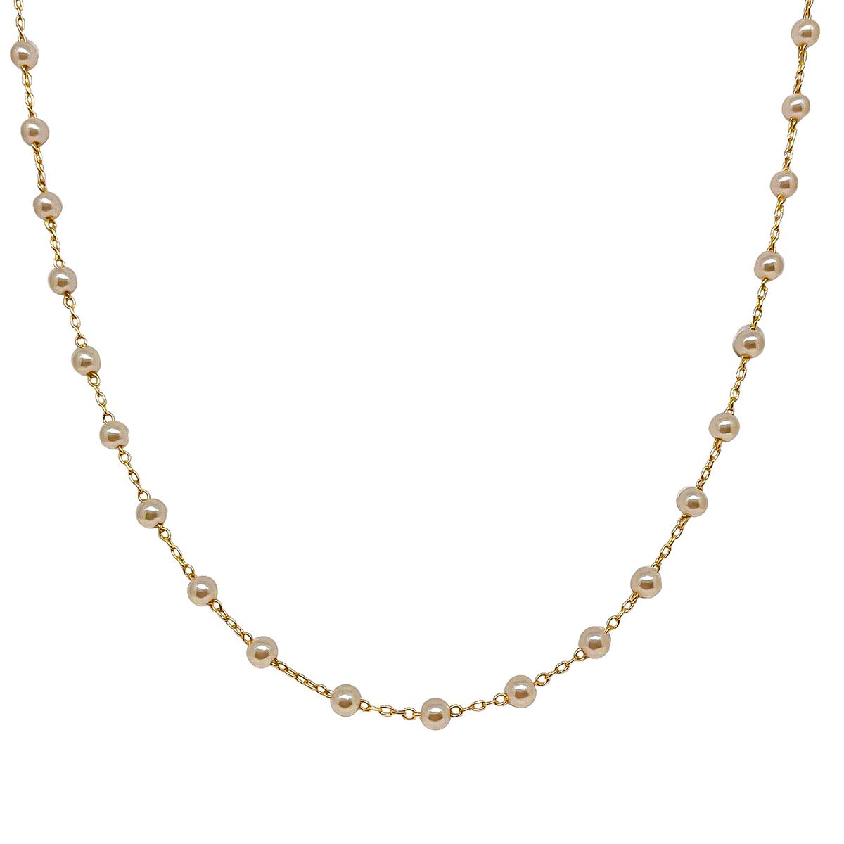 Colar Longo De Pérolas Cor Champanhe 80 cm Folheado Em Ouro