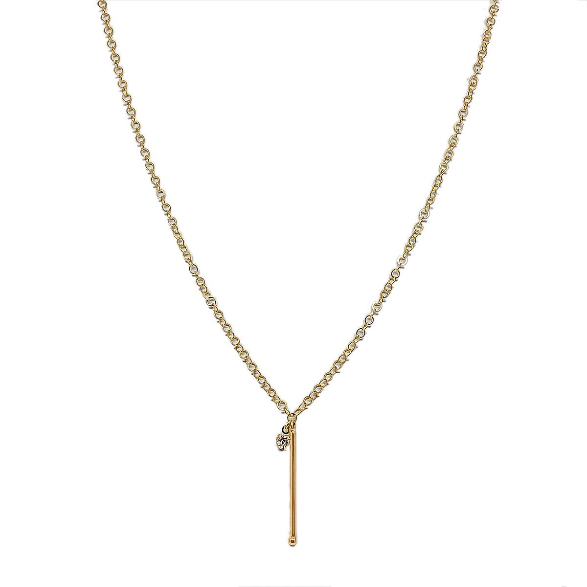 Colar Longo Palito e Coração De Zircônia 60 cm Folheado Ouro