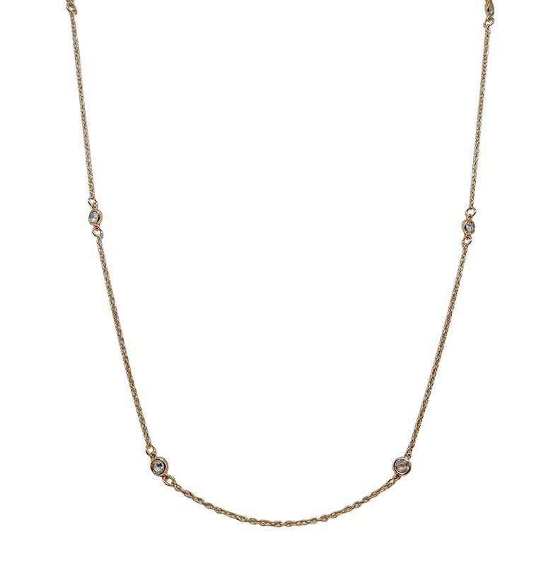 Colar Longo Tiffany Com Zircônias Brancas Folheado Em Ouro