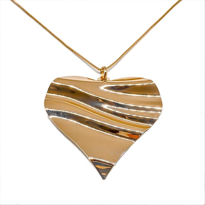 Colar Maxi De Coração Folheado Em Ouro